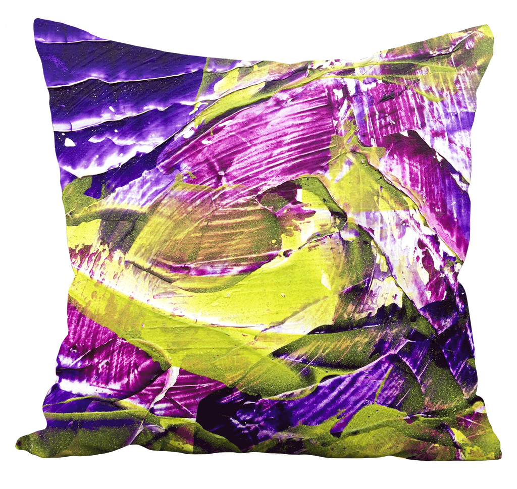 Purple Green Abstract Pillow