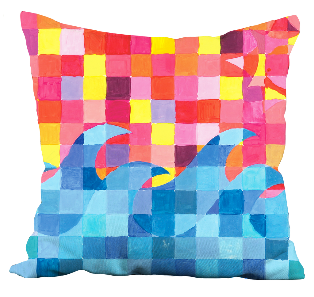 Sunset Wave Grid Pillow