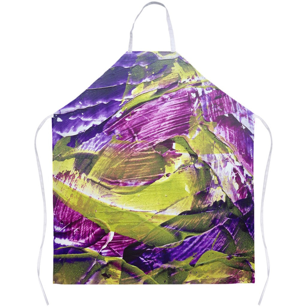 Purple Green Abstract Apron