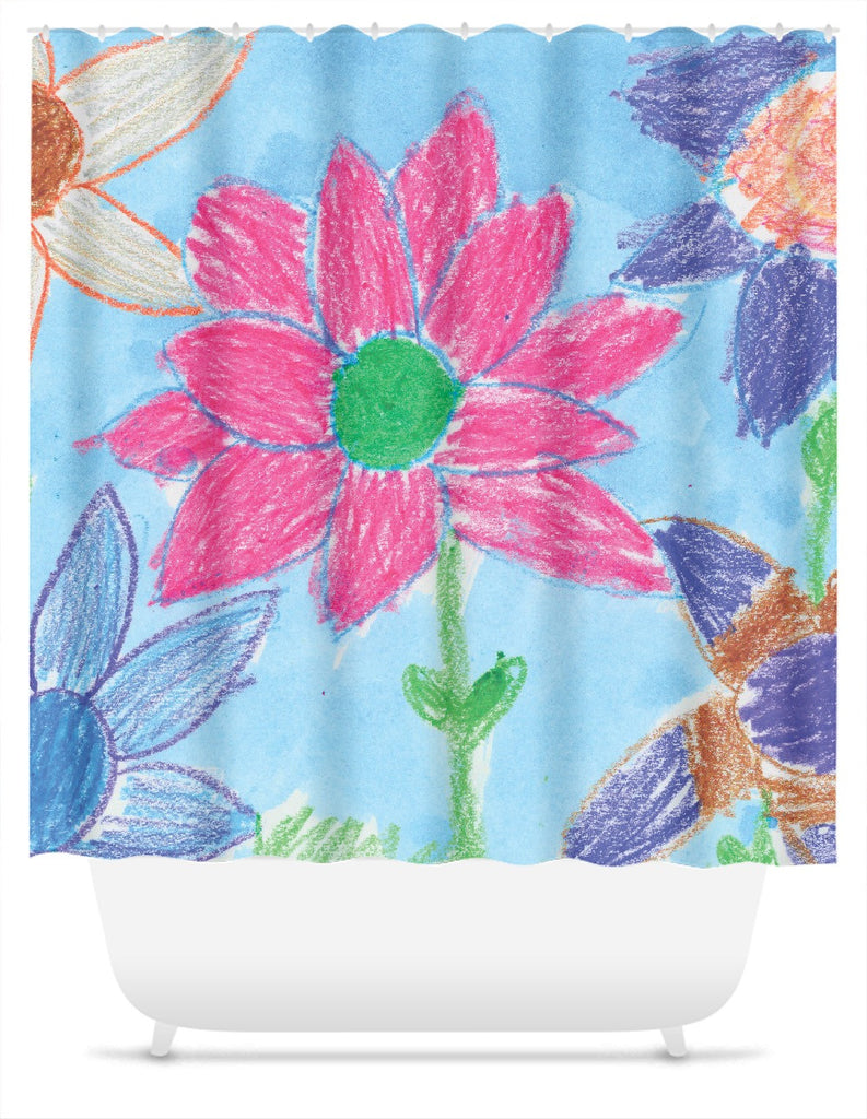 Crayon Flower Shower Curtain
