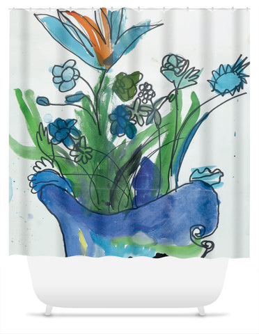 Blue Vase & Flowers Shower Curtain