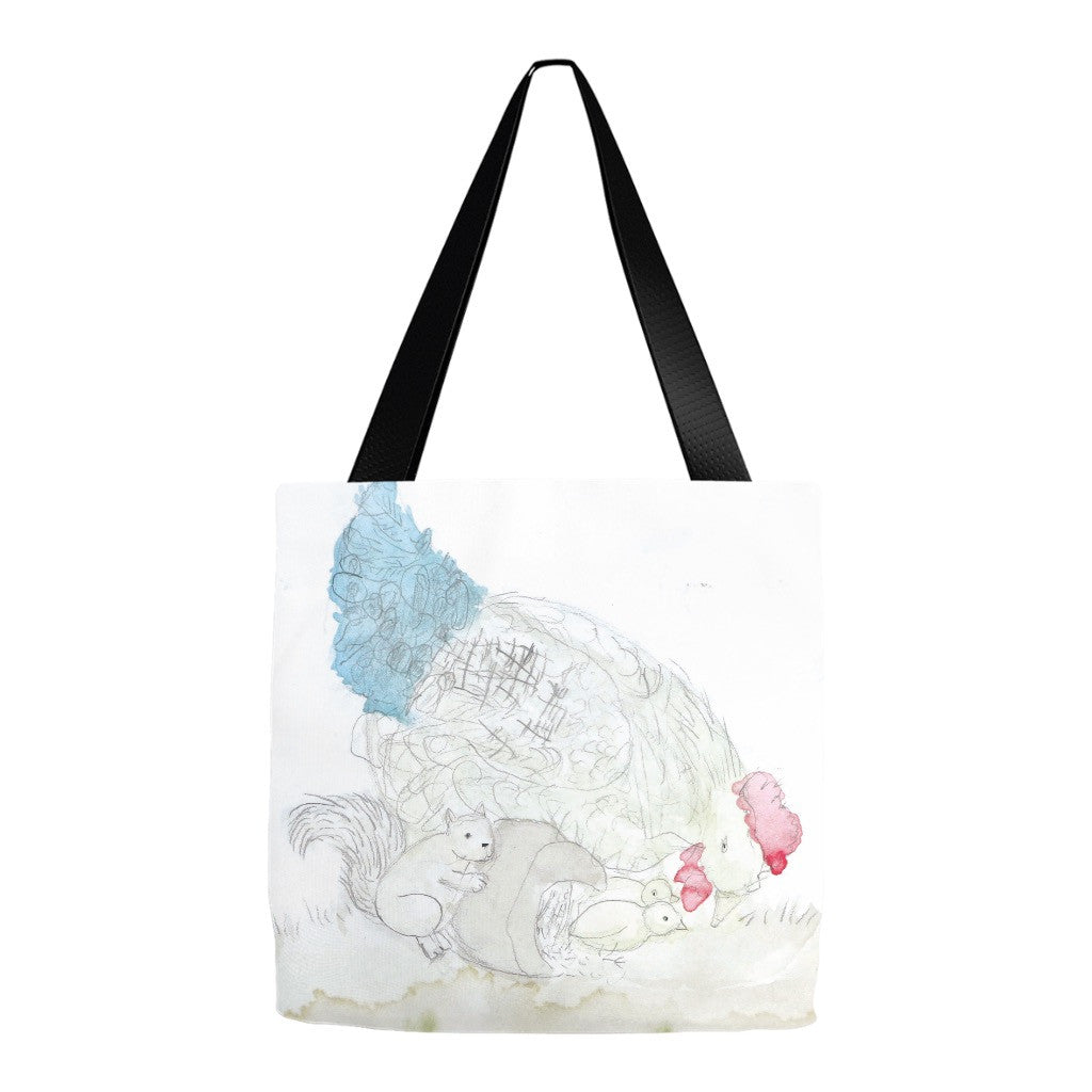 Squirrel & Chickens Tote Bag