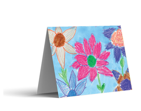 Crayon Flower Note Cards