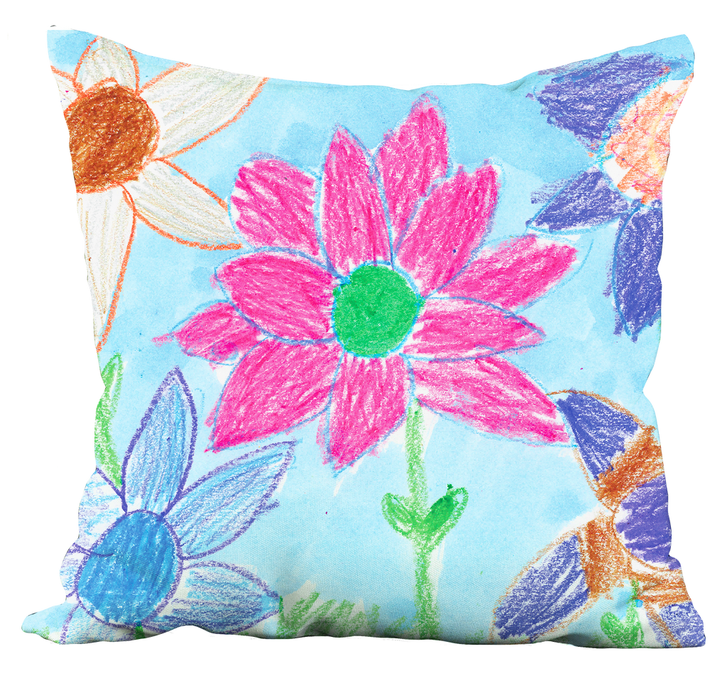 Crayon Flower Pillow