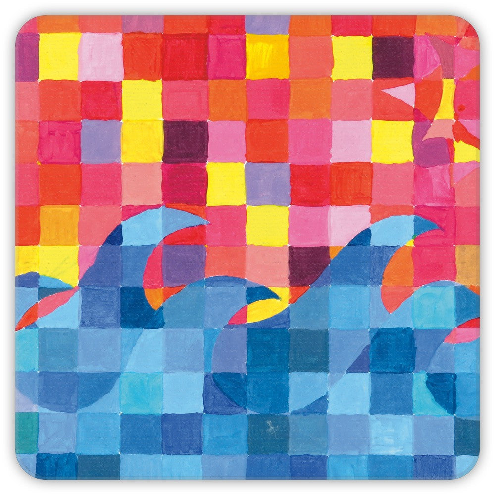 Sunset Wave Grid Coasters