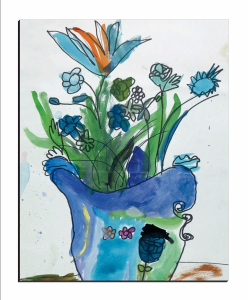 Blue Vase & Flowers Wrapped Canvas