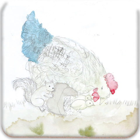 Squirrel & Chickens Coasters