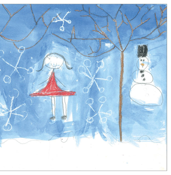 Girl and Snowman Note Cards