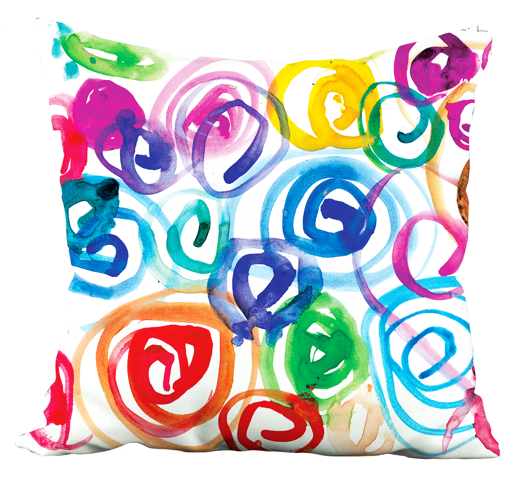 Watercolor Swirls Pillow