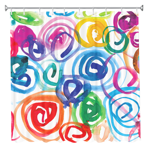 Watercolor Swirls Shower Curtain