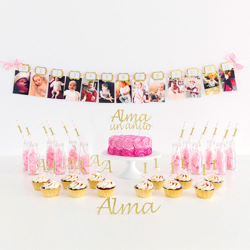 First Birthday Party Decorations - Pink & Gold Theme