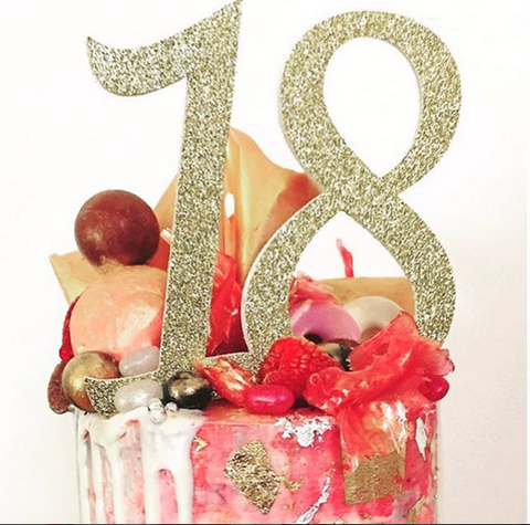 18th birthday cake topper - gold glitter