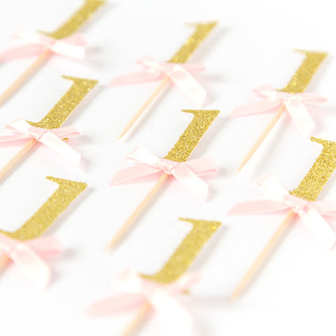 First Birthday Cupcake Toppers | Pink & Gold Glitter - First birthday Inspired by Alma - Inspired by Alma Inspired by Alma - Inspired by Alma  Cupcake toppers - Party decorartions, cake toppers, cupcake topper, confetti, iron on, outfit, straws, decor, first birthday party decorations.,