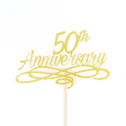 50th Anniversary Wedding Cake Topper - Golden Wedding Anniversary ...