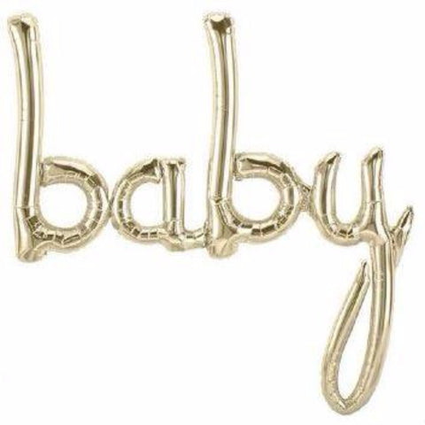 baby shower balloon - white gold foil