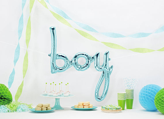 Baby Shower Party Balloon - Written boy in Blue - First birthday Inspired by Alma - Inspired by Alma Inspired by Alma - Inspired by Alma  Balloons - Party decorartions, cake toppers, cupcake topper, confetti, iron on, outfit, straws, decor, first birthday party decorations.,