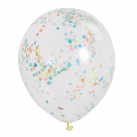 Clear Latex Party Balloons | Multi Colour Confetti