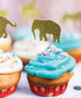 circus elephant gold glitter cupcake topper