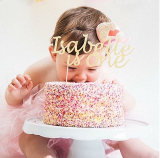 Happy Birthday Cake Topper with name and age