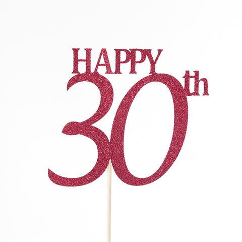 Happy 30th birthday cake topper - red glitter