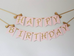 Happy birthday wall banner pink and gold