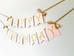 Pink and gold happy birthday wall banner