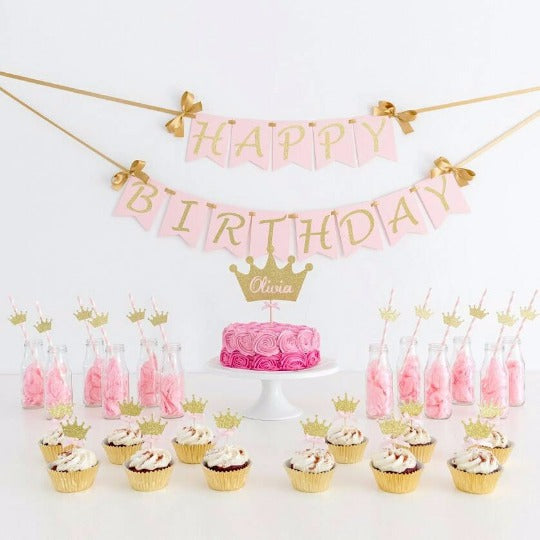 Pink Gold Glitter Party Decorations Tagged Happy Birthday