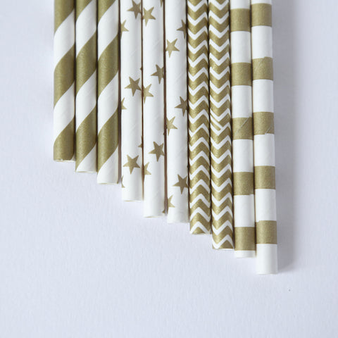 party straws classic white and gold