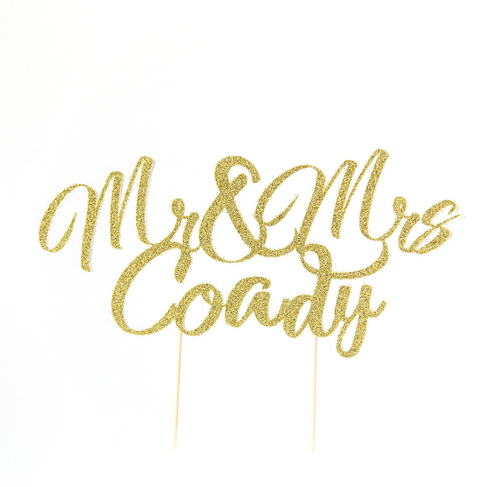 Wedding Cake Topper - Mr & Mrs Custom name