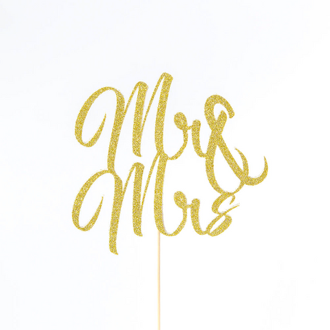 mr & mrs wedding cake topper in gold