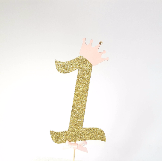 First birthday 1 cake topper in gold glitter