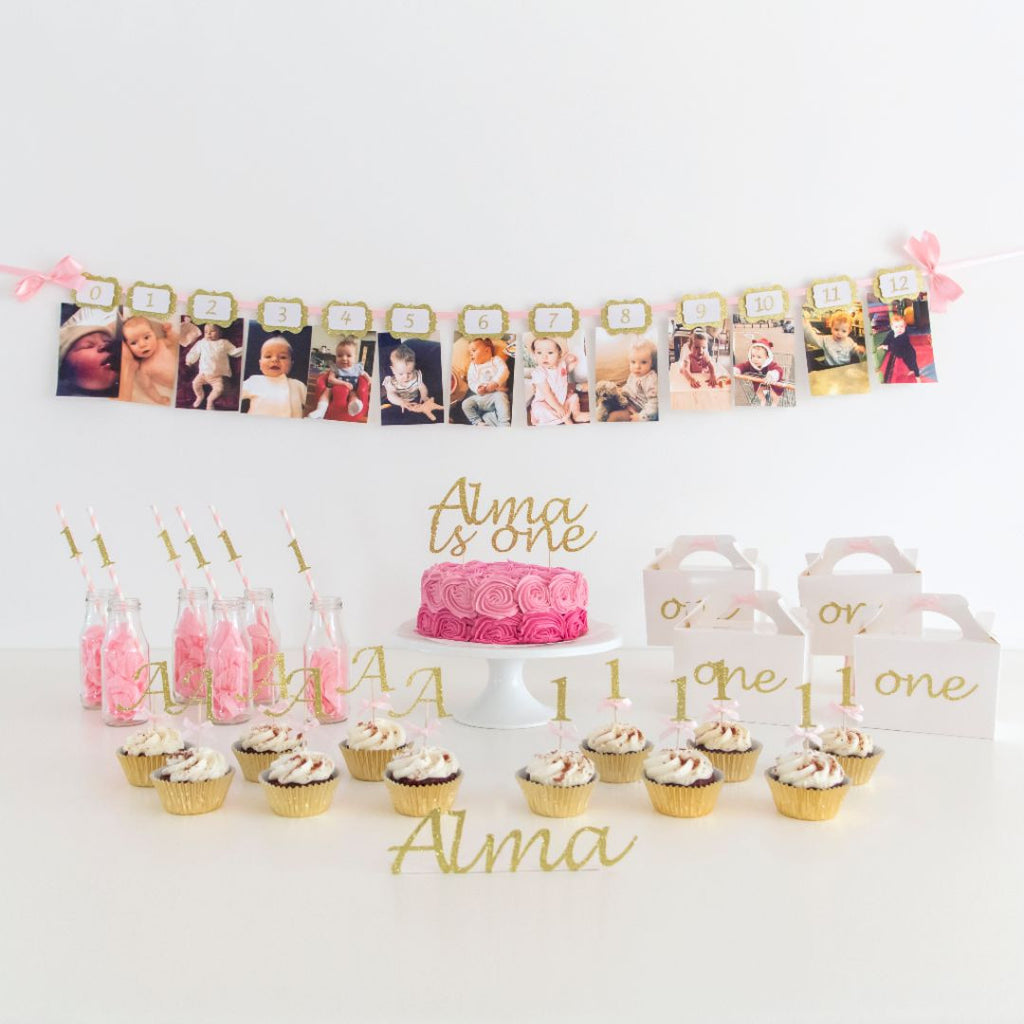 First Birthday Party Pack - Pink and Gold - First birthday Inspired by Alma - Inspired by Alma Inspired by Alma - Inspired by Alma  Birthday pack - Party decorartions, cake toppers, cupcake topper, confetti, iron on, outfit, straws, decor, first birthday party decorations.,
