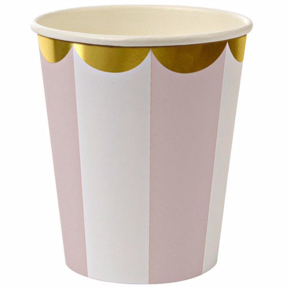 party cups - pink andm gold