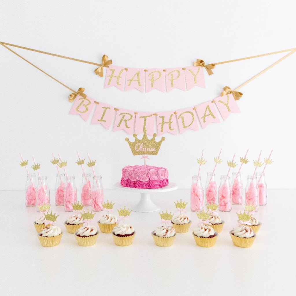 Birthday Pack - Princess Theme - First birthday Inspired by Alma - Inspired by Alma Inspired by Alma - Inspired by Alma  Birthday pack - Party decorartions, cake toppers, cupcake topper, confetti, iron on, outfit, straws, decor, first birthday party decorations.,