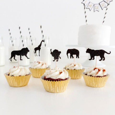 Safari and jungle themed cupcake toppers