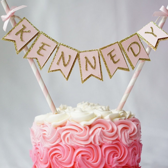 Birthday Cake Banner - Custom Name & Colour Cake Topper - First birthday Inspired by Alma - Inspired by Alma Inspired by Alma - Inspired by Alma  Cake topper - Party decorartions, cake toppers, cupcake topper, confetti, iron on, outfit, straws, decor, first birthday party decorations.,