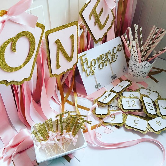 First Birthday Party Pack Pink and gold