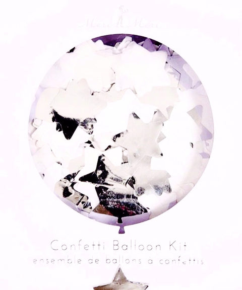 silver glitter luxury balloons filled with confetti