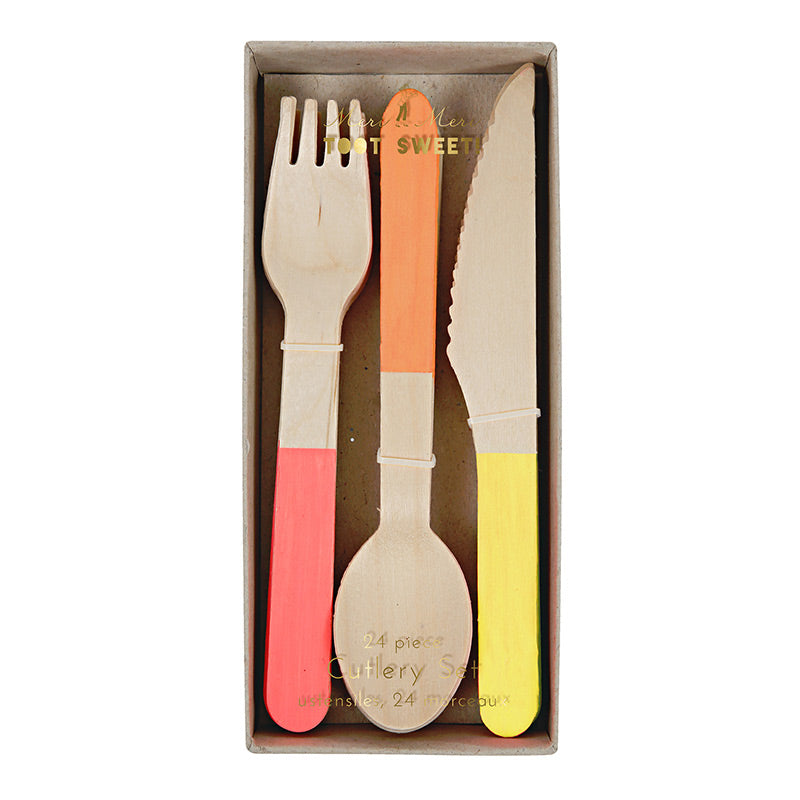 Wooden Cutlery Party Set | Red Orange & Yellow