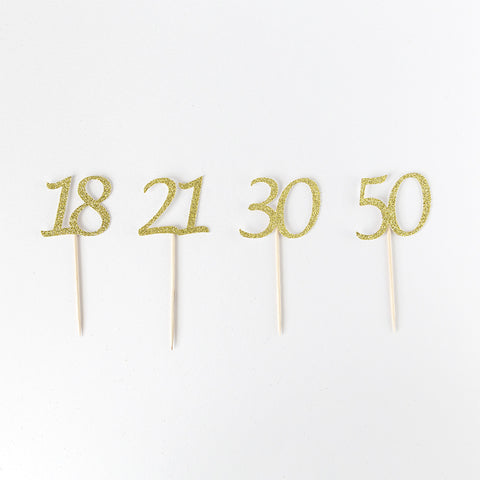 Adult birthday cupcake toppers gold glitter