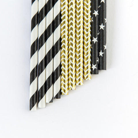 Party Straws - Black and Gold