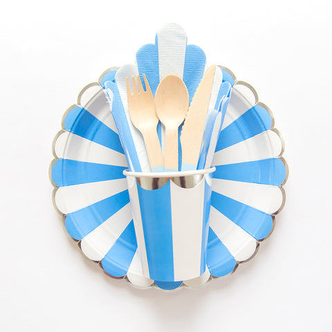 blue and white striped tableware