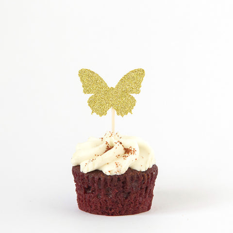 Butterfly gold cupcake toppers
