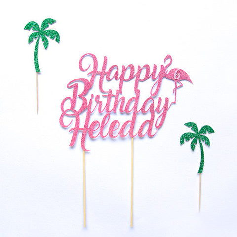 Happy Birthday Flamingo Cake Topper - Custom Name & Age - First birthday Inspired by Alma - Inspired by Alma Inspired by Alma - Inspired by Alma  Cake topper - Party decorartions, cake toppers, cupcake topper, confetti, iron on, outfit, straws, decor, first birthday party decorations.,