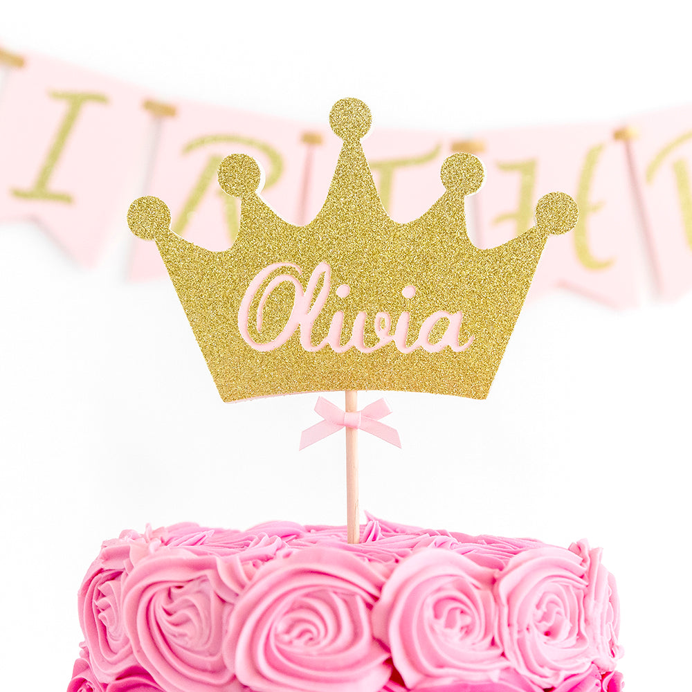 princess crown cake topper with name
