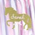 Cake topper - unicorn personalised name in gold