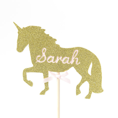 Unicorn cake topper with name in gold and pink bow