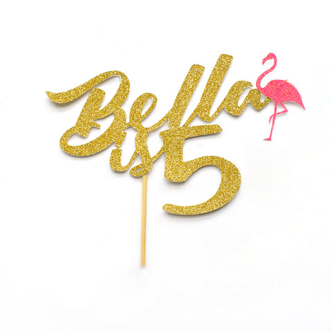 Name is age Birthday Cake Topper with Decorative Flamingo