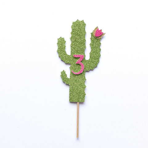Cactus cake topper with age in hot pink
