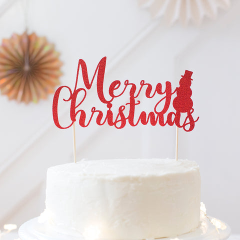 Merry Christmas cake topper - Red glitter with decorative snowman